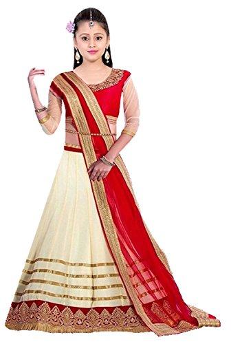Clickedia Girls Net Semi Sticthed Lehenga Choli/ Chaniya Choli (Designer Kids_Rasam off-white_Off-White Red_8-12 yrs)  available at amazon for Rs.349
