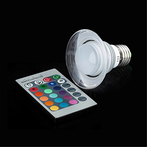 3W E27 Change Color Acrylic Ceiling Lamp Light Bulb + Remote Controller Trumpet Style