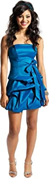Strapless Taffeta Bubble Dress with P…