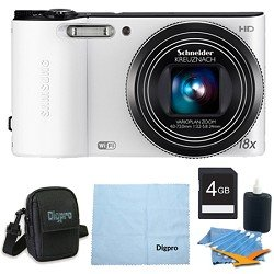 Samsung WB150F Smart Wi-Fi Digital Camera Deluxe Bundle With 4 GB Secure Digital High Capacity (SDHC) Memory Card, Digpro Compact Camera Deluxe Carrying Case, Cleaning Kit WHITE