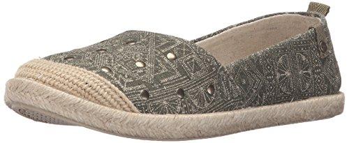 Roxy Women's Flamenco Slip-on Shoes Flat, Olive, 6.5 M US