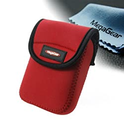 MegaGear Ultra Light Neoprene Camera Case Bag with Carabiner for Canon sx700, Canon PowerShot SX710 HS (Red) [Camera]