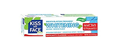 Kiss My Face Anti Cavity Whitening Toothpaste, Fluoride Toothpaste, 4.5 Ounce