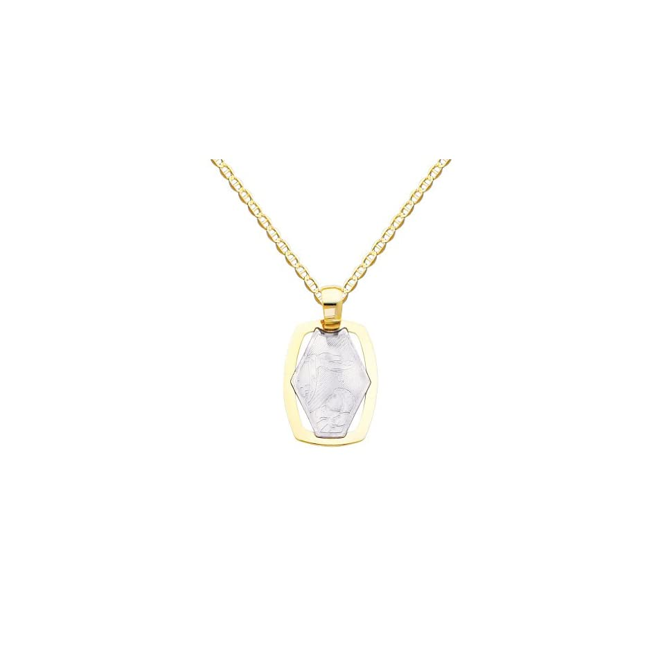 14k Two Tone Gold Religious Baptism Pendant with 1.5mm Flat Mariner Chain Necklace   16