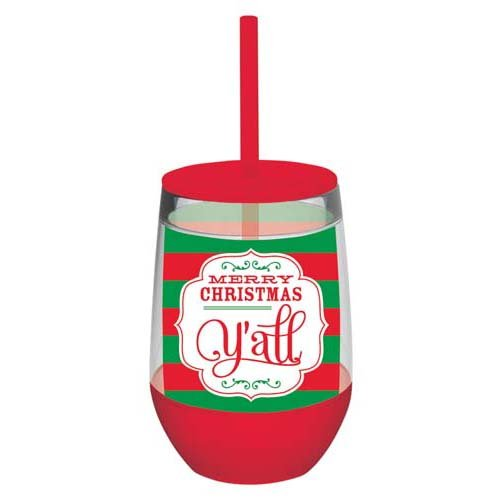 Insulated Wine Glass With Straw front-456841