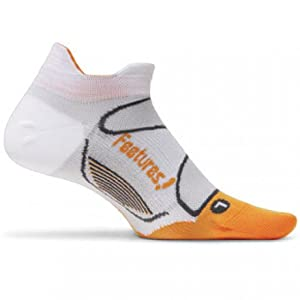 FEETURES! Running Socks - ELITE ULTRA LIGHT - No Show Tab : White/Orange : S : E5504351