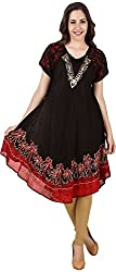 Stylishbae Women's A-Line Dress (Red and Black)