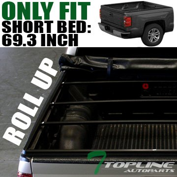 Topline Autopart Roll Roll-Up Soft Truck Bed Topper Cap Vinyl Tonneau Cover 14/15-16 Chevy GMC Silverado Sierra 1500 2500 3500 HD Fleetside 5.8 Ft 68