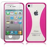IPHONE 4 / IPHONE 4G CLEAR BACK GEL CASE / COVER / SHELL / SKIN - HOT PINK WITH SCREEN PROTECTOR PART OF THE QUBITS ACCESSORIES RANGE