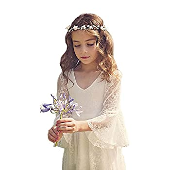 Bohemian Country Beach Long Lace Flower Girl Bohemian Dresses with Sleeves
