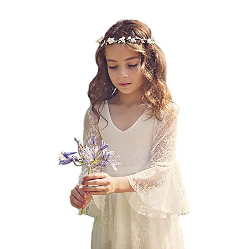 Bohemian Country Beach Long Lace Flower Girl Bohemian Dresses with Sleeves 2