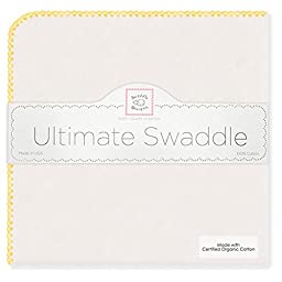 SwaddleDesigns Organic Ultimate Receiving Blanket, Natural with Color Trim, Bright Yellow