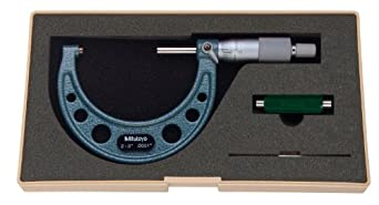 "Mitutoyo 103-217 Outside Micrometer, Baked-enamel Finish, Ratchet Stop, 2-3"" Range, 0.0001"" Graduation, +/-0.0001"" Accuracy"