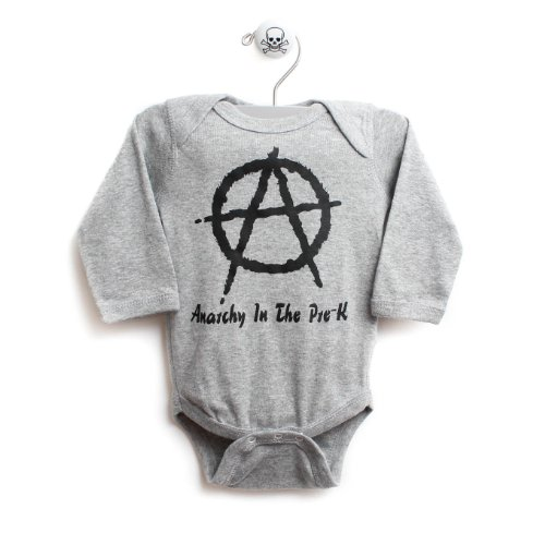 Anarchy Baby One Piece Long Sleeve Baby Body Suit In Grey