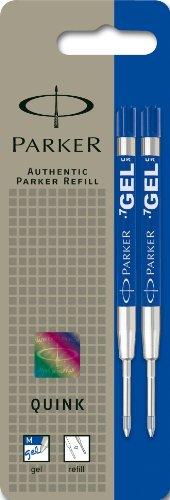 Parker QINK - Minas de repuesto para bolígrafo de tinta gel (trazo mediano, 2 unidades), tinta azul