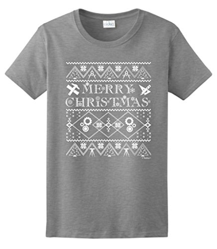Ugly Christmas Sweater For Engineers Ladies T-Shirt Large Sport Grey