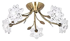 Modern 5 Light Antique Brass Semi Flush Ceiling Light with Floral Glass Shades