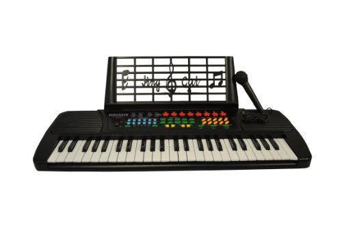Directly Cheap Beginners 49 Keys Kids Digital Piano Bundle with Microphone & Note Holder, Black