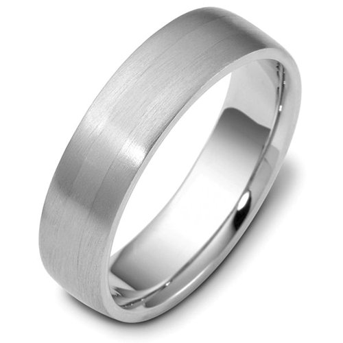 Sterling Silver, Domed Contemporary Brushed 6MM Wedding Band (sz 10)