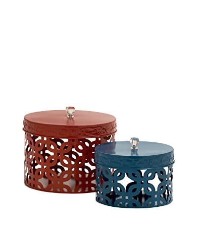 Set of 2 Metal Acrylic Boxes, Red/Blue