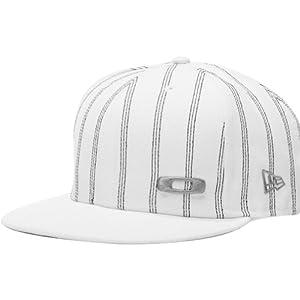 Oakley Pinstripe New Era Men's Fitted Fashion Hat/Cap - White/Blue / Size 7 3/8