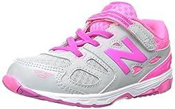 New Balance KA680 Infant Run Running Shoe (Infant/Toddler),Grey/Pink,8.5 W US Toddler