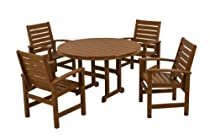 Hot Sale POLYWOOD PWS152-1-TE Signature 5-Piece Dining Set, Teak