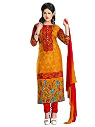 Orange Cotton Printed Unstitcehd Dress Material