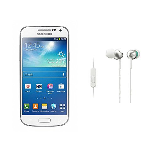 Samsung Galaxy S4 Mini GT-I9192 GSM Unlocked Dual Sim (White) with Sony MDR-EX110AP/W EX Monitor Headphones