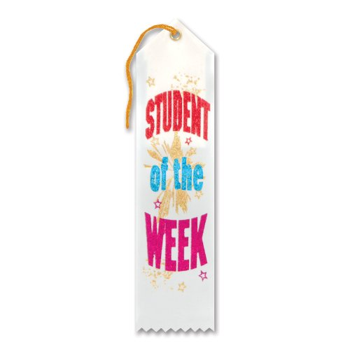 "Student Of The Week Award Ribbon 2"" x 8"" Party Accessory - 1"