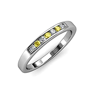 Yellow Sapphire and Diamond (SI2-I1, G-H) 7 Stone Wedding Band 0.36 ct tw in 14K White Gold.size 9