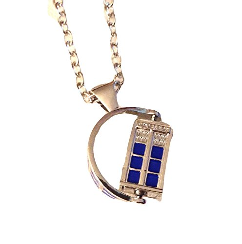 "Doctor Who TV SPINNING 3D TARDIS Police Box Pendant NECKLACE w/ 30"" Chain"