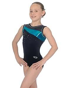 """The Zone Z298ICO justaucorps de gymnastique sans manches avec col arrondi en velours lisse, bleu mermaid, taille 24"""""""