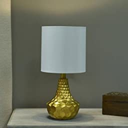 Better Homes and Gardens Gold Faceted Table Lamp with Linen Shade, Resin Table Lamp
