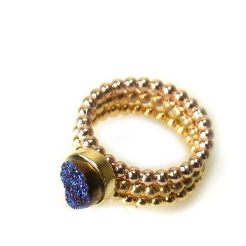 Dara Ettinger Victoria Stacking Rings Gold / Midnight (7)