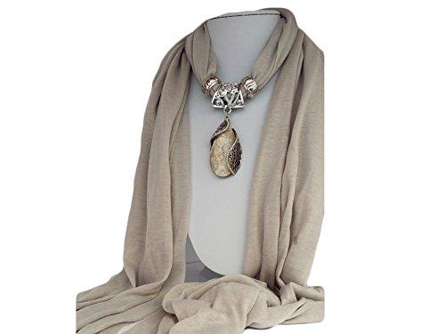 la loria damen schmuckschal elegant embrance in taupe modisches halstuch mit schal anh nger. Black Bedroom Furniture Sets. Home Design Ideas