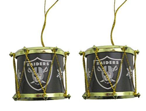 Oakland Raiders NFL Mini Drum Christmas Ornaments (2)
