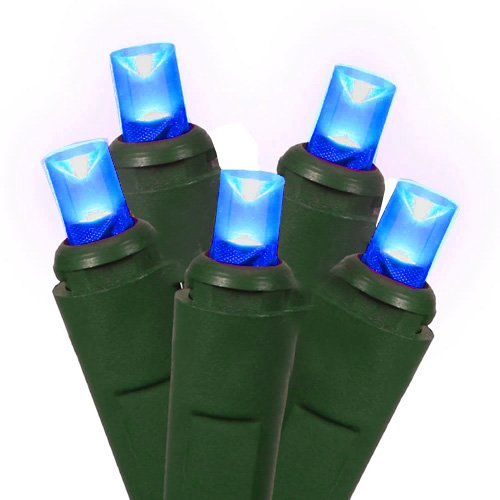Set Of 50 Commercial Grade Blue Led Wide Angle Christmas Lights - Green Wire