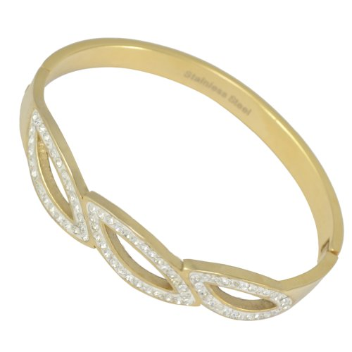 Kadima Stainless Steel Bangle Gold IP Plated With Clear Gemstone