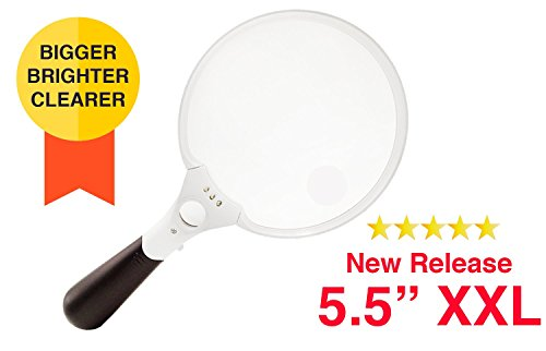 OpticSharp-55-Inch-Extra-Large-Ultra-Bright-LED-Lighted-Magnifying-Glass-2X-35X-and-10X-Handheld-Magnifier-with-Light-for-Reading-Inspection-Exploring-Hobbies-and-More