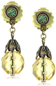 "Sorrelli ""Water Lily"" Crystal Bead Drop Gold-Tone Earrings"