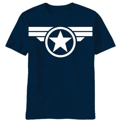 キャプテン・アメリカ ロゴ グッド オル スティーブ ネイビー Tシャツ