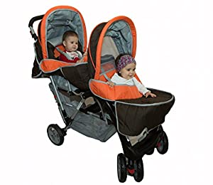 Exclusivo Tandem -Cochecito gemelos naranja - BambinoWorld marca BambinoWorld en BebeHogar.com