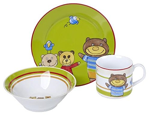 Original Cucina Italiana Porcelain Dinnerware Childrens 3 Pc Set Teddy Bear Print (Baby Porcelain Dish Set compare prices)