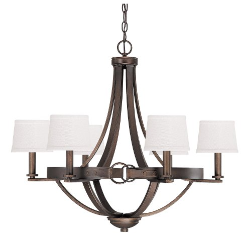 Capital Lighting 4206TB-546 Chastain 6-Light Chandelier, Tobacco Finish with Decorative Shades