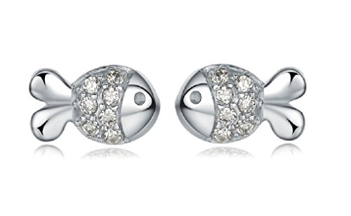 Lovely Sterling Silver fish Stud Earrings - 1