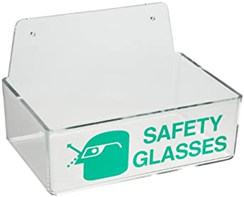 "Brady 2011 3"" Height, 9"" Width, 6"" Depth, Plastic, Green On Clear Color Safety Glasses Holder Without Cover, Legend ""Safety Glasses"""