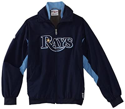 MLB Tampa Bay Rays Triple Peak Premier Jacket, Navy Columbia Blue