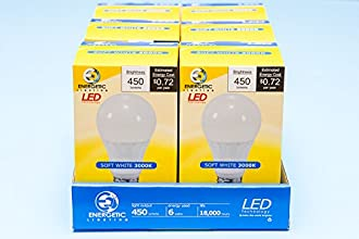 Energetic Lighting ELY06-EAS-VB-6 A19 - 40 Watt Equivalent 450 Lumen Non-Dimmable, 6-Pack