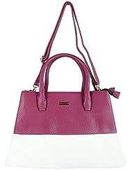 Bee - Trendy Women's Handbag White And Purple - BT002_WP